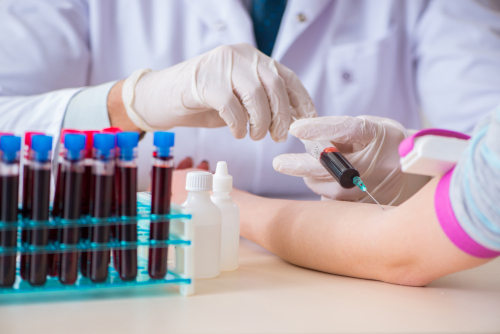 person receiving blood work