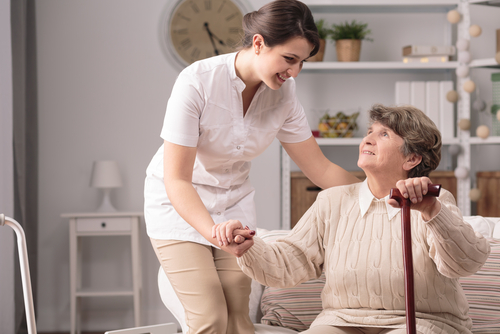 home nurse with client in Pasadena